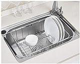 Edelstahl über Spüle Dish Trocknen Drainer, für die Küchenspüle – zum Trocknen von Gläsern, Besteck, und Tellern Geschirrspüler Korb mit Besteck Tablett - flexibler Einsatz über Waschbecken möglich