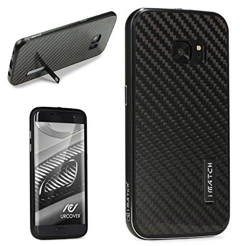 Echt Carbon Aluminium Schutz Hülle für das Samsung Galaxy S7 Edge Original UrCover® [DEUTSCHER FACHHANDEL] Case Cover Bumper Alu Rahmen Tasche Schutzhülle Schwarz/Schwarz