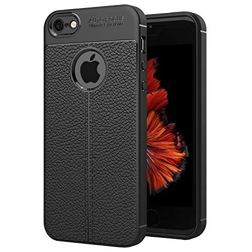 NEW'C Hülle für iPhone 5 / 5S / SE in Schwarz mit Aufprallschutz und Ledereffekt (Silikon Gel TPU, Flexibel) Handyhülle kompatibel iPhone 5, iPhone 5s, iPhone SE