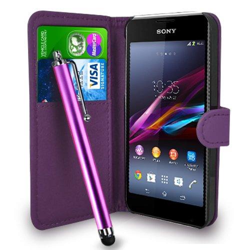 Sony Xperia E1 - Premium-Leder-Geldbörse Flip Hülle Tasche + Touch Pen Stylus + Display Schutzfolie & Poliertuch (Wallet Dark Purple)