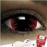 Lenti a contatto colorate'Mini Sclera Hangman' + capsule di sangue finto + portalenti per FXCONTACTS bianche, morbide, non corrette, in confezione da due: comode da indossare e ideali per Halloween