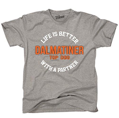 Siviwonder Unisex T-Shirt DALMATINER - LIFE IS BETTER PARTNER Hunde Sports Grey