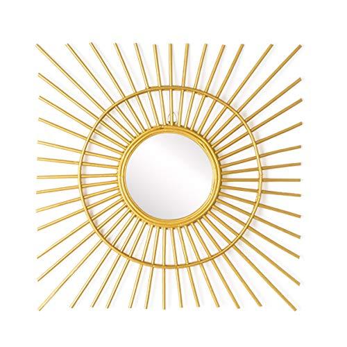 Espejo de pared decorativo redondo Gold Ra, ratán natural, estilo étnico & boho chic, nórdico, bonito...