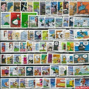 collection-de-timbres-france-obliteres-bandes-dessinees-nbre-de-timbres25-timbres-differents