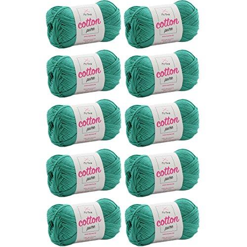 MyOma Baumwolle Strickgarn Cotton Pure Lagune (Fb 0138)* Baumwolle Garn Stricken + GRATIS Anleitung – 10 Knäuel blaues Baumwollgarn/Blaue Baumwolle – 50g/125m – Nadelstärke 2,5-3,5mm