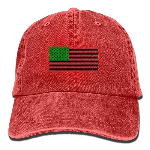 Zhgrong Caps African American Flag - Red Black and Green Vintage Washed Dyed Cotton Twill Low Profile Adjustable Baseball Cap Black Flexfit Cap - Black Washed Twill