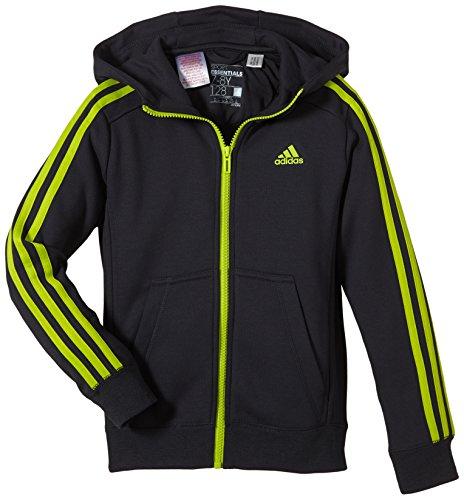adidas Jungen Sweatjacke Essentials 3-Stripes Full Zip Brushed, Dark Grey/Semi Solar Yellow, 164 cm, S23265 (Jersey Adidas-full Zip)