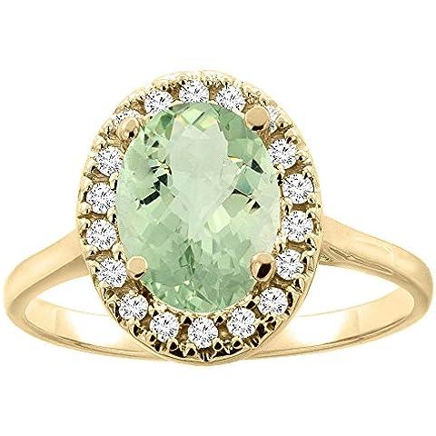 Oro 14 K con ametista verde Halo anello, 9 x 7 mm, forma ovale, accento diamante, taglie J-T