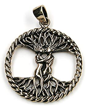 Keltischer Lebensbaum Schmuck Anhänger Bronze Länge mit Öse: 4cm; Ø 2.8cm inkl. Band; Bronze Schmuck mit Anlaufschutz