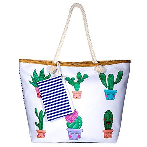 Czoele Große Wasserdicht Strandtasche mit Reißverschluss und Innentasche Sommer TascheVerschluss Damen Shopper Tasche Schultertasche Badetasche Beach Bag Umhängetasche für Damen und Mädchen (Style 6) - Innentasche Mit Reißverschluss