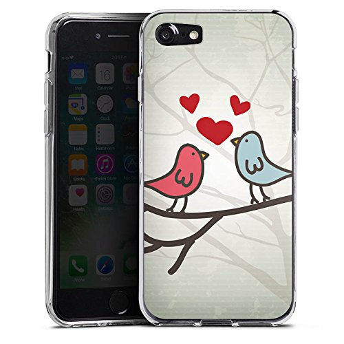 Apple iPhone X Silikon Hülle Case Schutzhülle Herz Vogel Love Silikon Case transparent
