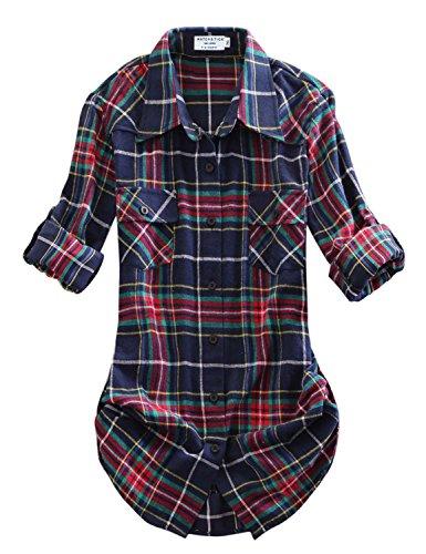 Match donna flanella plaid camicia #b003(2021 checks#10,xs)
