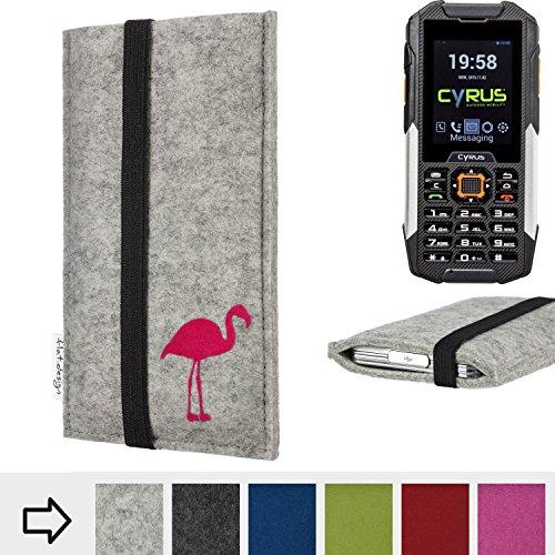 flat.design Handytasche Coimbra mit Flamingo und Gummiband-Verschluss für Cyrus cm 16 - Schutz Case Etui Filz Made in Germany in hellgrau schwarz pink - passgenaue Handy Hülle für Cyrus cm 16