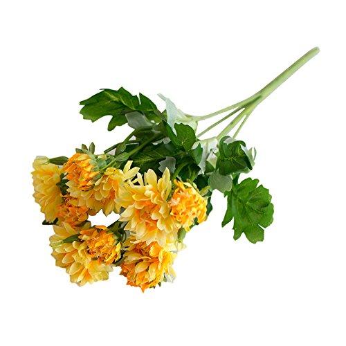 gzzebo 1 Blumenstrauß 10 Köpfe künstliche Chrysanthemen Pflanze Zuhause Büro Party Hochzeit Deko Foto Requisiten gelb