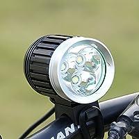 GHB Lampe VTT LED Puissante Lampe Vélo Eclairage VTT Phare Vélo LED Rechargeable Etanche 4000 LM 3X CREE XM-L T6 de 4 Mode de Lumière + 4* 18650 Batteries + Chargeur + Bandeau Réglable + Phare Arrière