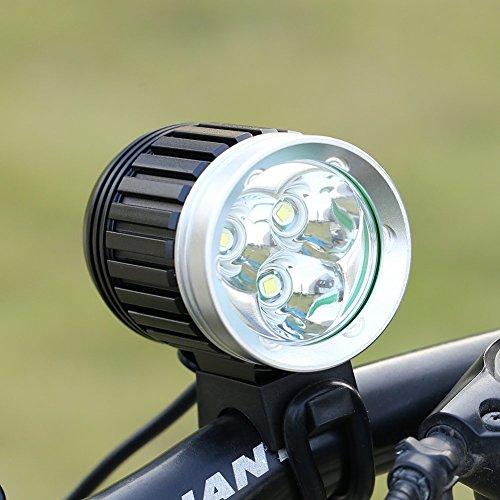GHB 2 en 1 Eclairage Vélo VTT et Lampe Frontale LED Lumière Vélo Phare Avant Vélo Puissante Rechargeable Etanche 4000 LM 3X CREE XM-L T6 de 4 Mode de lumière + 4* 18650 Batteries + Chargeur+Bandeau réglable+Phare arrière