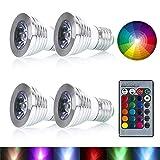 Colour Changing Light Bulb, URPIRE 4W E27 Smart RGB LED Floodlight with 24 Keys Remote Control for Home, KTV, Bar, Landscape, Kids Bedroom, Living Room Decoration ( 4 Pack )