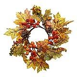 Deko-Kranz Herbstlaub aufwändig gearbeitet mit zahlreichen Textil-Laubblättern in stimmungsvollen Herbstfarben, Naturzapfen und kleinen Kunststoffbeeren außen ca. 30 cm, ohne Glas-Windlicht und Kerze