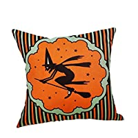 Sofa for Cushion, iHee Linen Pillowcase Throw Pillow Case Halloween Pumpkin Witch Cushions Cover Square 18x18 Inches Home Decor (18 x 18 Inches, Witch)