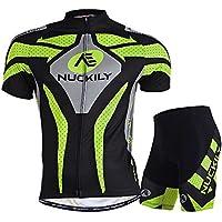 NUCKILY Uomo traspirante Ciclismo Breve Suits, Uomo, Green, XL