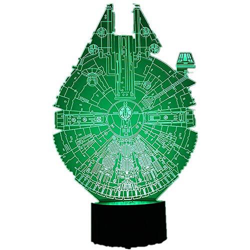 orangeww 3D LED Star Wars Millennium Falcon Nachtlicht BB8 Roboter Illusionslampe Nachtlicht Raumdekoration Nacht Geschenk für Kinder Weihnachten Geschenk Licht (Wars Tisch Decken Star)