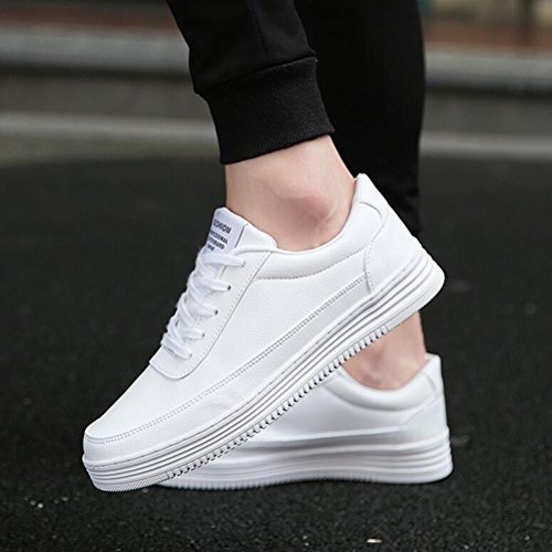 Hommes Casual Chaussures de sport pour hommes Unisexe Low-Top Sneakers Lace-up plats mocassins ( Color : Blanc-40 ) Blanc-46