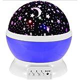 مصباح ليلي قابل للدوران يصدر شعاعا شبيها بالفضاء يملا الغرفة بالنجوم، لون ازرق