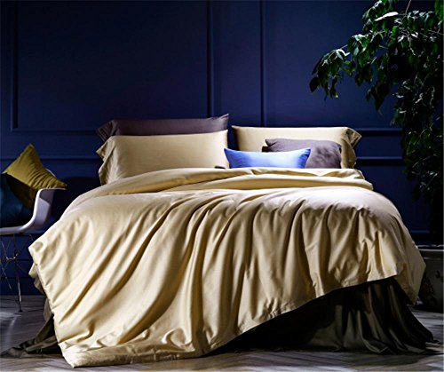 raso di cotone set a lungo fiocco di materasso e quattro pezzi di colore solido , 2.0m (6.6 feet) bed , gold