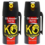 Familien Set: 2x 40ml Original Columbia KO-CS Abwehrspray Verteidigungsspray - Made in Germany!