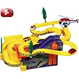Toykart Track Racer Racing Car Set With Helicopter,Battery Operated Musical Kids Game