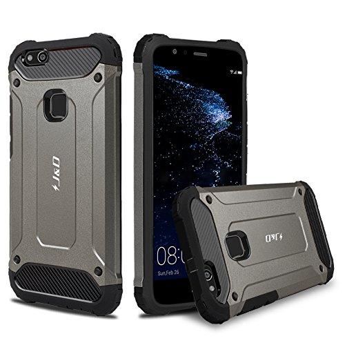 P10 Lite Hülle, J&D [ArmorBox] [Doppelschicht] [Heavy-Duty-Schutz] Hybrid Stoßfest Schutzhülle für Huawei P10 Lite - Grau