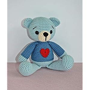 Häkeltier Teddybär Anton Häkelteddy blau Baumwolle handgemacht