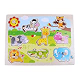 akaddy Wooden Baby Kids Toy Cognitive Puzzle Board Clutch Plate Educational Toys(Animal)