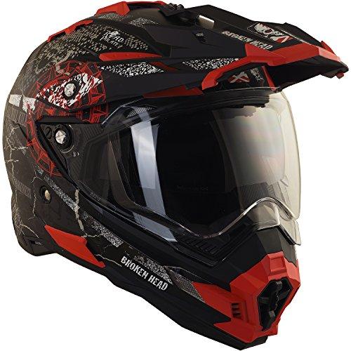 Broken Head Road Pirate Cross-Helm mit Visier | Endurohelm - MX Motocross Helm mit Sonnenblende - Quad-Helm Größe M (57-58 cm) - 3