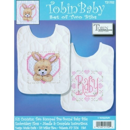 Tobin Bedtime Prayer Girl Bib Pair Stamped Cross Stitch Kit, 8 by 10-Inch, Set of 2 by Tobin