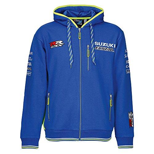 Suzuki MotoGP Ecstar Team Jacke Kapuzen Sweatshirt Zipper Hoodie blau neon gelb (3XL) (Suzuki Blau Motorrad Jacke Für)