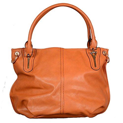 Designer Tasche Kunst Leder Handbag Handtasche Henkeltasche Abendtasche Schultertasche City Tote Bag Cognac Braun (Burberry Tasche Braun)