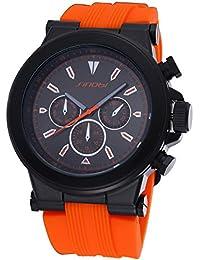 SINOBI Big Nail Dial Silicone Quartz 30M Waterproof Men Watch (Orange Black)