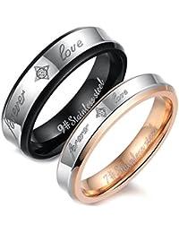 """Flongo 2 Anillos pareja, anillos de bodas, anillos de compromiso, regalo de amor """"Forever Love"""", acero inoxidable, Dorado Negro, Día de los enamorados/Navidad"""