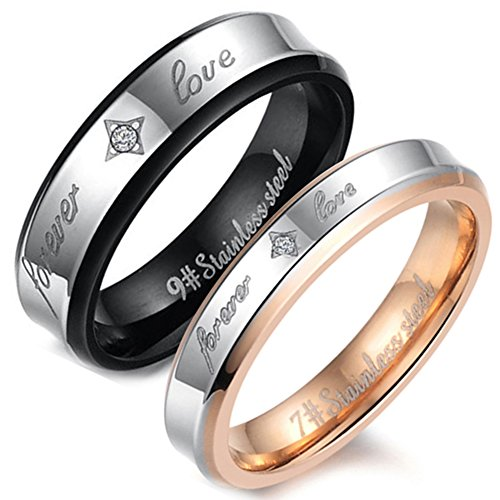 Flongo 2 Anillos pareja, anillos de bodas, anillos de compromiso, regalo de amor 'Forever Love', acero inoxidable, Dorado Negro, Día de los enamorados/Navidad