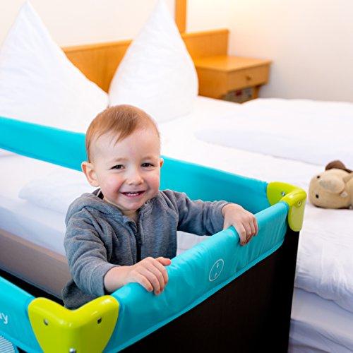 Hauck Kinderreisebett Dream N Play, inkl. Hauck Reisebettmatratze, tragbar und klappbar, 120 x 60 cm, blau/schwarz/grün (waterblue) - 2
