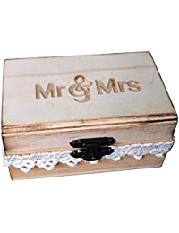 TOOGOO(R) Mr and Mrs Ring Box , Rustic Wedding Ring Bearer Box, Wood Wedding Ring Box, Wedding Box for Rings
