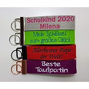 Schlüsselanhänger mit zwei Zeilen Wunschtext- Filzanhänger individuell bestickt - Glücksbringer - Geschenk