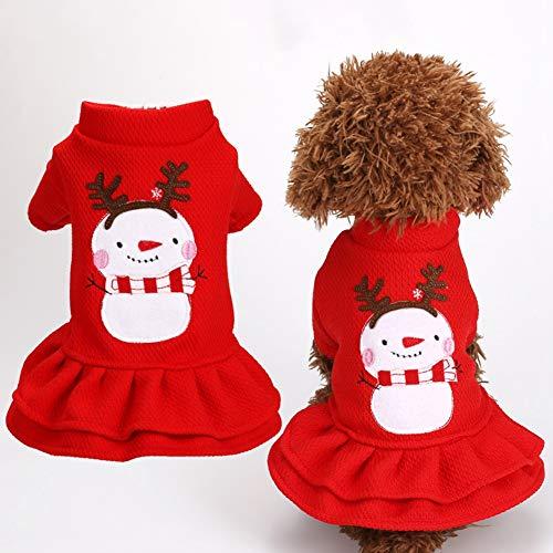 Mädchen Schneemann Outfit - Wanyudz Haustier warme Kleidung Hund Mädchen