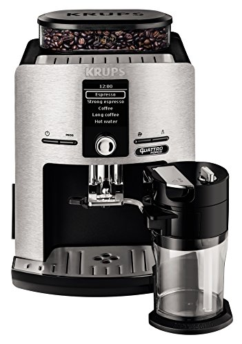 Krups EA82FD Macchina per il caffè espresso, 1.7L, 12 tazze, Alluminio/Nero