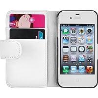 iPhone 4 Hülle, JAMMYLIZARD Ledertasche Flip Cover für iPhone 4 und 4s, WEISS