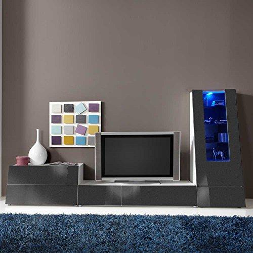 Wohnwand in Anthrazit Hochglanz RGB Beleuchtung (3-teilig) Beleuchtung Wechsellicht Pharao24