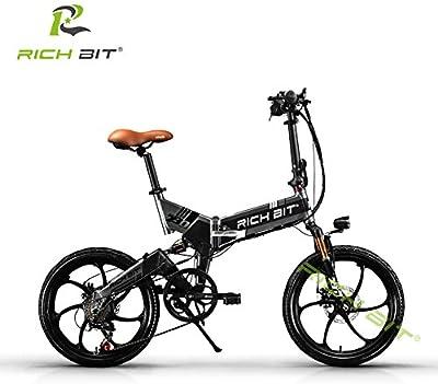 Bicicleta Eléctrica Bicicleta Plegable Ciclismo Rich Bit® RT730 250 W * 48V 8Ah 7Speed Equipada funda para teléfono cargador y soporte doble freno de disco mecánico Magnesium Alloy Gris