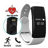 COOSA Smart Armband Fitness Tracker Bluetooth 4.0 IP66 OLED-Screen Puls-Monitor Pedometer Tracking Calorie Aktivitätstracker Schlaf-Monitor Ruferinnerung für Android und IOS Smartphone (Weiß)