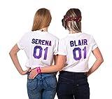 Sister Best Friends T-Shirt für Zwei Damen Mädchen Shirts Sommer Oberteil Tshirt als Geburtstagsgeschenk 2 Stücke BFF Symbolische Freundschaft(Serena-S+Blair-M)